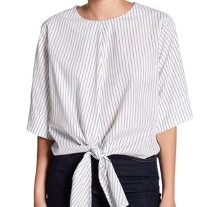 Lush Striped Blouse Wide Sleeve Tie Front szM NWOT